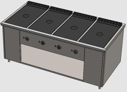 Промышленная плита без жарочного шкафа ПРГ-IIА-4С